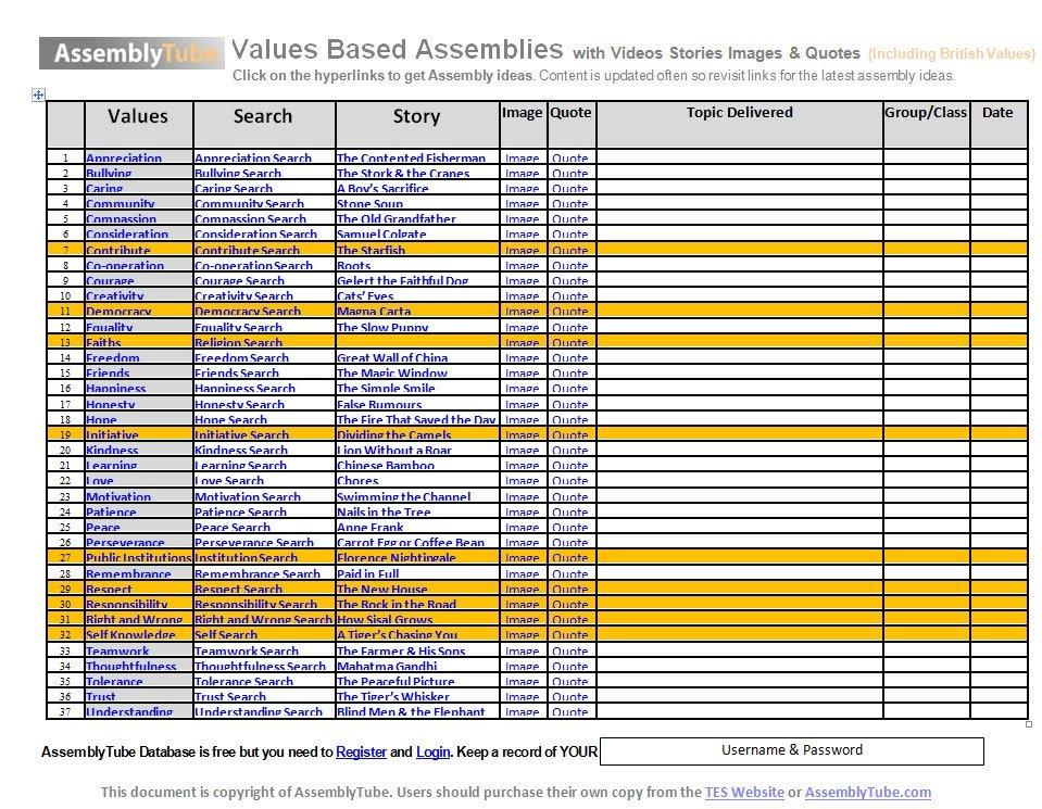 Values Assemblies Planner