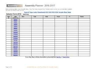Assembly Planner Calendar