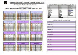 Values Calendar 2017-2018